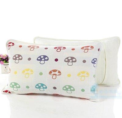 枕頭套 六層紗布純棉枕頭套 蘑菇/草莓 兒童枕頭套 新生兒枕頭套 30*50cm [ MACHI SHOP ]