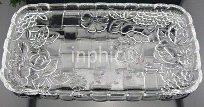 INPHIC-彩色水晶玻璃 長方形印花 玻璃水晶大款果盤 杯子託盤 透明