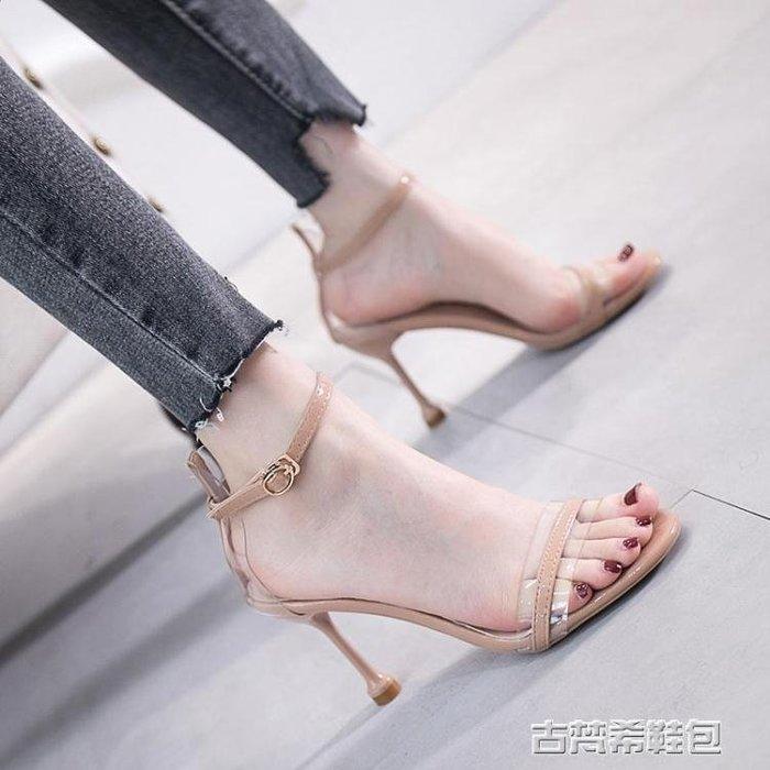 高跟鞋 歐美新款性感透明露趾一字扣帶高跟細跟涼鞋女黑色百搭小清新