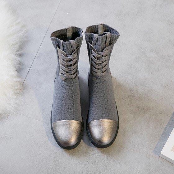 ~Linda~厚跟針織內增高毛線馬丁靴女顯瘦短靴厚底彈力靴中筒靴子
