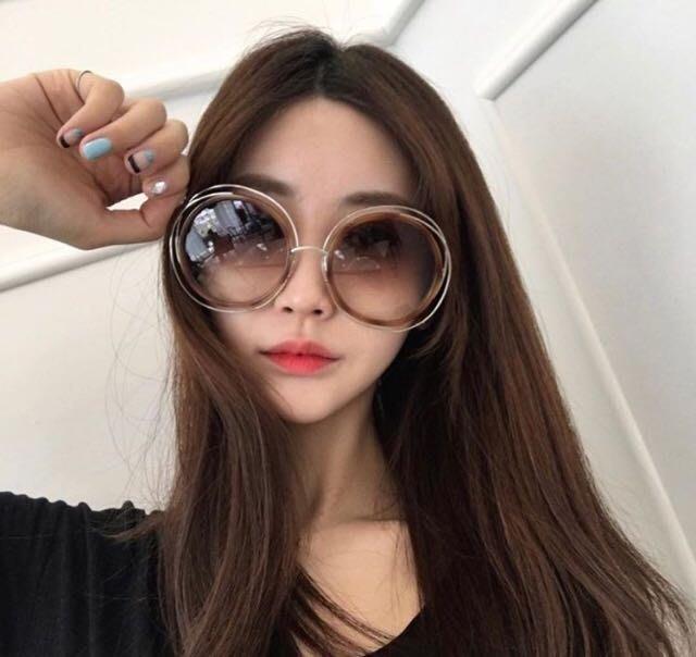 Chloe 經典簍空金色金屬大圓框 琥珀色漸層太陽眼鏡 CE120SD 736 公司貨 新款鏡腳 女神經典款