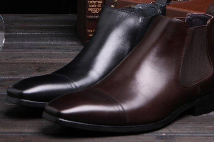 新款英倫商務正裝靴 秋冬牛皮套筒方頭男靴 真皮職業皮靴潮正品