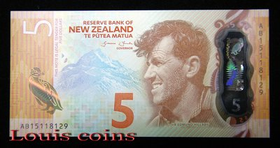 【Louis Coins】B374-NEW ZEALAND-2015紐西蘭塑膠鈔,5 Dollars