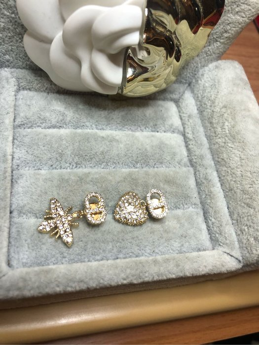 DIOR 經典 二手 蜜蜂 愛心 滿鑽 耳環