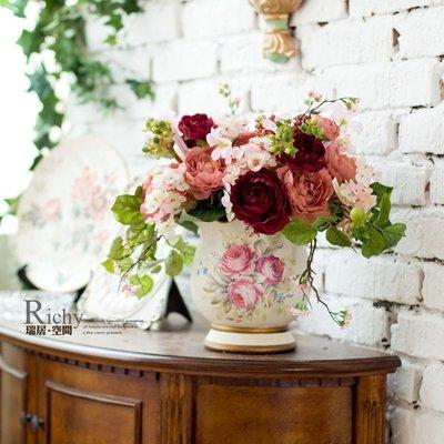 INPHIC-卷邊玫瑰桌擺手繪小花盆仿真花套裝-3色可選