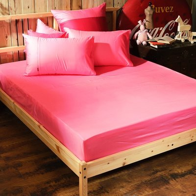 《60支紗》雙人加大床包/枕套/3件式【亮粉】Magic colors 100%精梳棉-麗塔寢飾-
