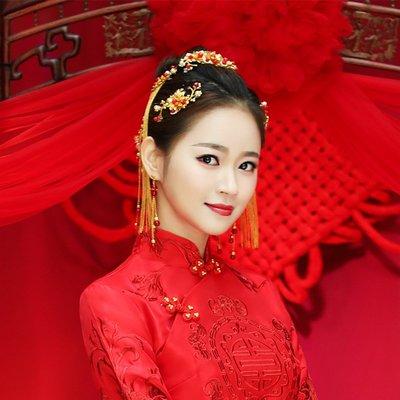 髮飾 頭飾 新娘頭飾 民族頭飾新娘古裝頭飾秀禾服旗袍配飾中式鳳冠步搖套裝結婚頭飾禮服發飾品