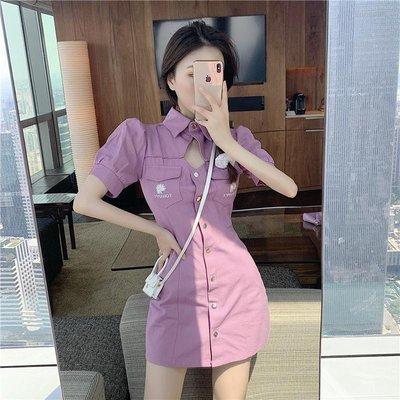連衣裙女2020新款輕熟風女神范紫色修身牛仔裙收腰顯瘦泡泡袖短裙