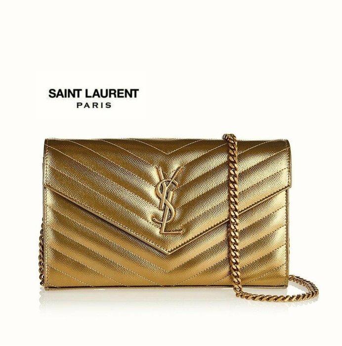 Saint Laurent Paris YSL ( 金色 ) 立體金屬LOGO  防刮壓紋 真皮長夾 小肩背包 皮夾 錢包 手拿包|100%全新正品|特價!