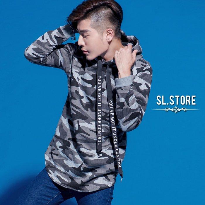 SL Store【DA016】長版下擺圓弧文字寬繩刷毛迷彩帽T.灰/黑/迷彩綠/迷彩灰/M/L/XL