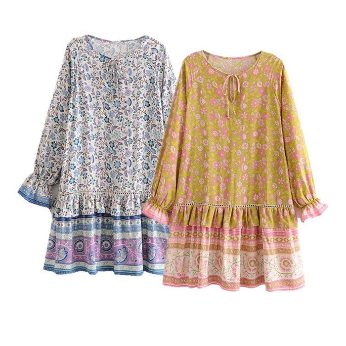 🔥🔥波西米亞民族風圖騰柔軟棉寬鬆大裙襬長袖洋裝