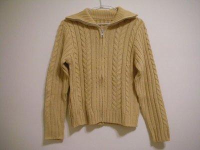 全新日系甜美風鵝黃色厚實粗針立體蔴花編織不扎刺高立領翻褶兩穿式女長袖毛衣外套