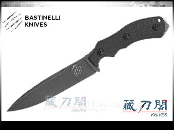 《藏刀閣》Bastinelli-(RAPTOR L)猛禽黑色G-10直柄刀(黑)