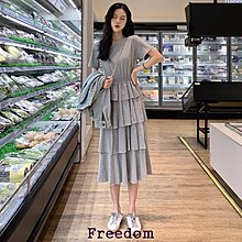 Freedom.~春季內搭裙超仙的上衣顯瘦圓領純色收腰層層蛋糕裙短袖連身裙女裝