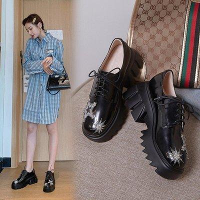 Fashion*樂福鞋~英倫風真皮系帶小皮鞋 繡花厚底松糕鞋/跟高7.5cm 34-39碼『黑色』