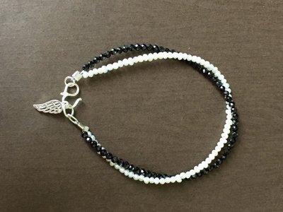 《寶石花園》全新 手作 925 純銀 雪花  天然珍珠 黑尖晶石 鏤空 翅膀 手鍊 手環