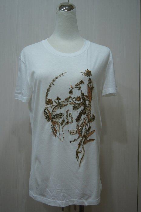 Alexander McQUEEN 白色繡金花 SKULL T恤     原價   27000    特價  6800