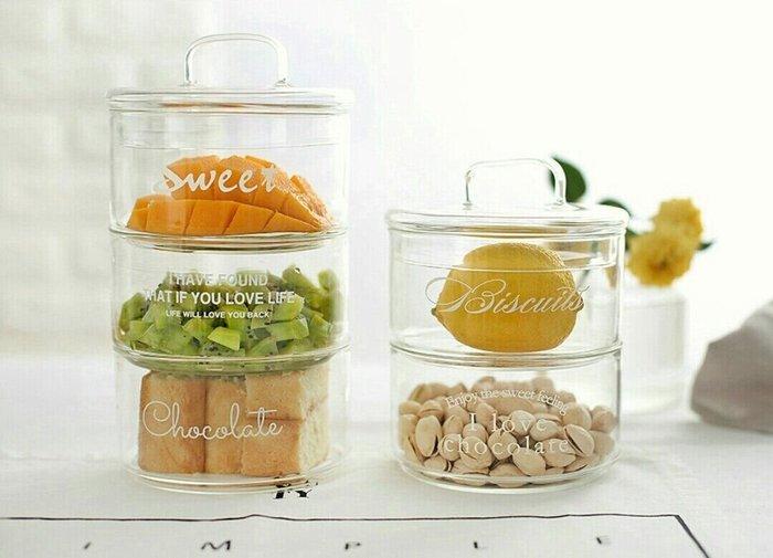 北歐簡約風Zakka雜貨耐熱玻璃碗加蓋食物展示罐收納罐【 蘇菲亞精品家飾】