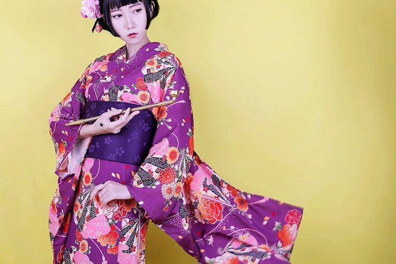 【尋寶圖】現貨!日式和服日式傳統女士和服浴衣振袖二尺袖紫色和服套裝正裝夏日祭35283