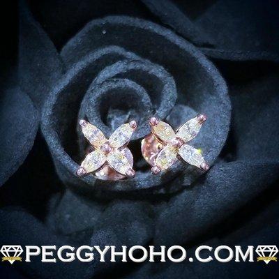 【Peggyhoho】全新18K玫瑰金34份超白超閃鑽石耳環|小花系列 |大睇靚款罕有欖尖鑽石 小花