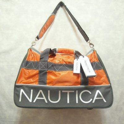 Nautica 旅行袋 運動袋 肩背包 手提包 旅行包 大容量 灰橘 大logo 極稀有 復古 古著 Vintage