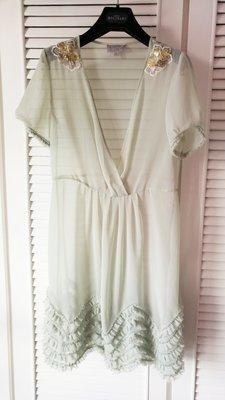 MOISELLE 透膚淺湖綠短袖洋裝