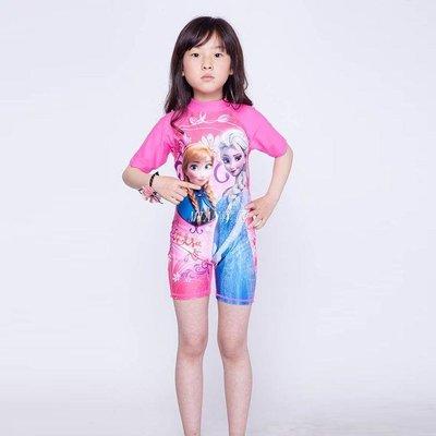 新品卡通防曬速干連身泳衣女孩小中童沖浪服韓版 冰雪奇緣游泳衣泳裝