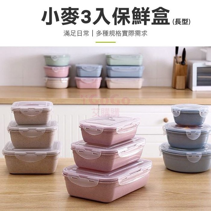 小麥3入保鮮盒(長型) 便當盒 餐盒 飯盒 食物收納 廚房用品