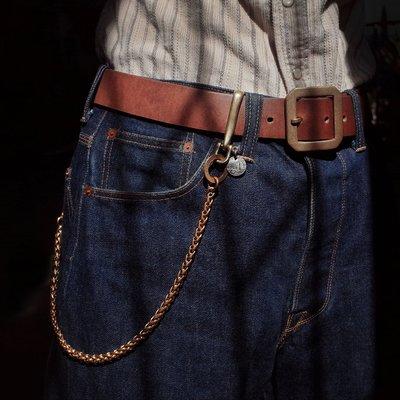 拓荒者革製所。Studio純黃銅手工財布鏈 褲鏈 莫桑比克硬幣改造 美式復古阿美咔嘰重機風復古做舊黃銅鏈子