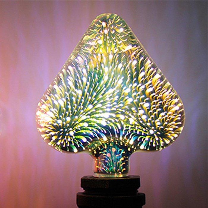 5Cgo【代購】設計師聖誕樹氣氛小夜店LED創意煙花烟火流星燈泡 愛心桃七彩立體藝術E27 3D十種造型 另十款燈座含稅