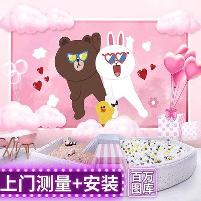 佩奇壁纸布朗熊主題壁紙卡通line可妮兔甜品奶茶店兒童房壁畫熱帶植物墻紙小猪佩奇