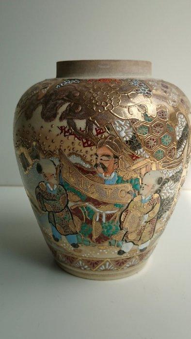 日本 明治 薩摩燒 茶葉罐
