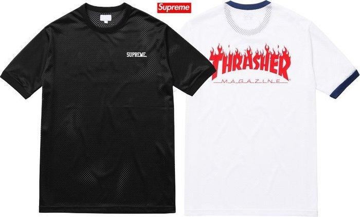 【超搶手】全新正品2015 滑板聯名Supreme x Thrasher Mesh Crewneck 球衣 黑色S L