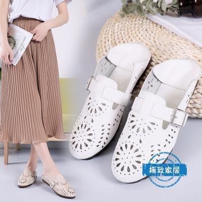 洞洞鞋涼鞋女夏季鏤空透氣圓頭女鞋2018新款包頭兩穿洞洞鞋搭扣平底拖鞋