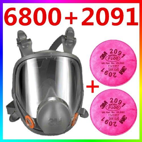 {CF舖}3M 6800+2091雙罐全罩式防毒面具(三件組)(3M防毒面具 噴漆 油漆 烤漆 電焊 粉塵)