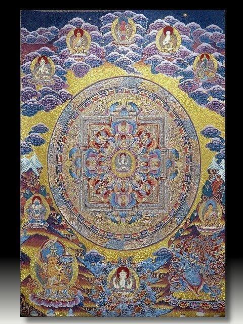 【 金王記拍寶網 】S814 中國西藏藏密佛像刺繡唐卡 轉輪圖 刺繡 (大)一張 完美罕見~