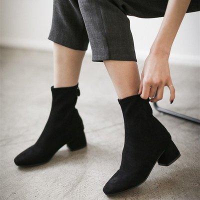 春季新款方頭粗跟短靴女彈力靴秋冬絨面襪子靴中跟裸靴及踝靴