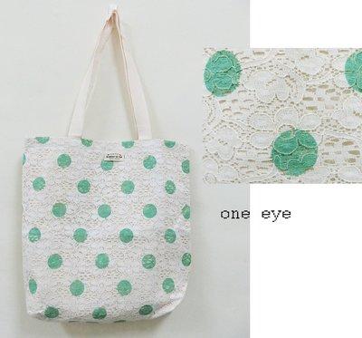 one eye 綠色點點蕾絲帆布購物手提肩背袋