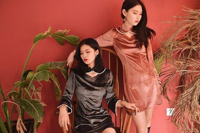 【鳳眼夫人】原創設計訂製款 如意 閨密裝2色 復古氣質仙女款銀絲絲絨珍珠包邊鏤空小圓領時尚改良旗袍連身裙 莫蘭迪色系洋裝