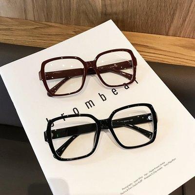 蜜久家ins潮個性網紅粗框方形黑色大框平光眼鏡框架女素顏圓臉顯瘦眼鏡#爆款熱賣