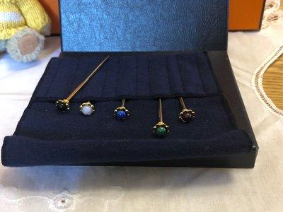 稀少珍品古董日本昭和時期訂製五種彩色不同彩色宝石Mikimoto 珠寶叉