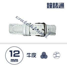 【鐘錶通】C1.08KW《繽紛系列》鱷魚壓紋-12mm 雪白┝手錶錶帶/高質感/牛皮錶帶┥