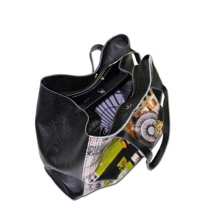 手提包 真皮 托特包-黑色牛皮印花肩背女包包2款73vi5[獨家進口][米蘭精品]