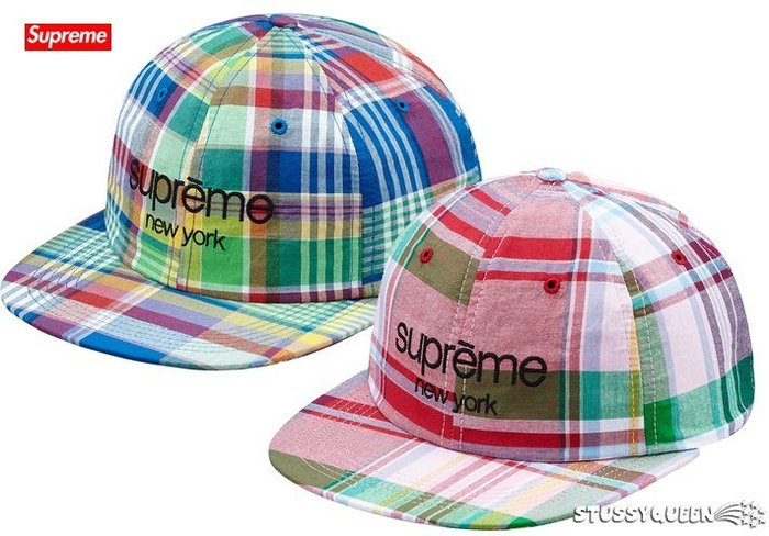【超搶手】2015 春夏 Supreme Madras Classic Logo 6 Panel 棒球帽 格紋 6分帽