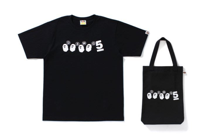 ☆AirRoom☆【現貨】A BATHING APE X DSM GINZA 5TH 五週年限定 短TEE 托特包 黑色