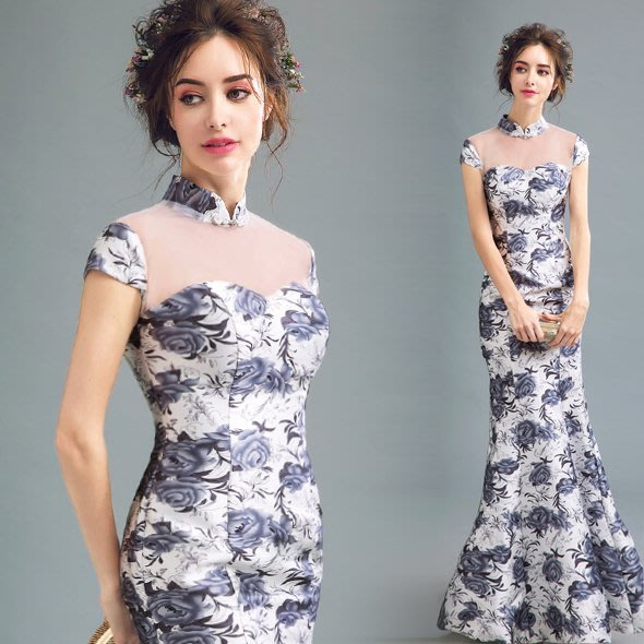 暈染花卉 中式新娘晚宴年會演出魚尾禮服旗袍 連身裙—莎芭