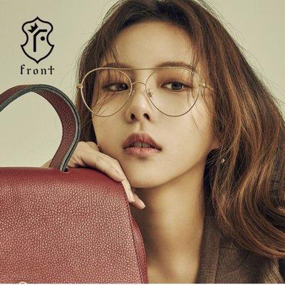 【Front 光學眼鏡】Miracle 時尚金屬大框眼鏡-玫瑰金框-可直接配戴當造型