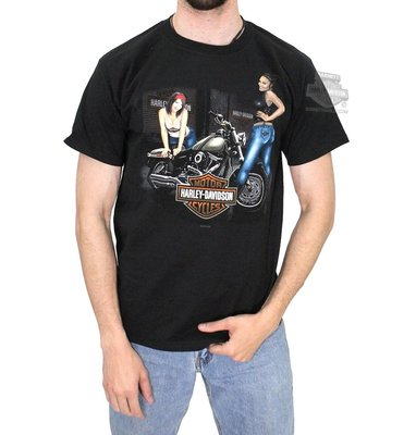 Harley-Davidson 全新 現貨 哈雷機車  Babes & Bike 黑色 短袖T恤  厚棉  L