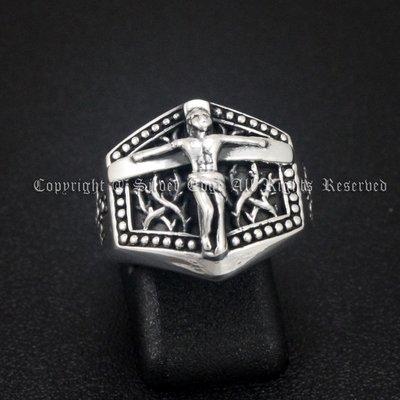 銀革手作 925 純銀 荊棘紋 耶穌 十字架 戒指