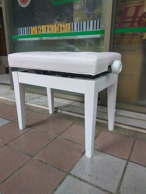 B43∮有琴有藝@日本style全新 鋼琴椅分段升降椅鋼琴椅 珍珠白實木乳膠皮面白色 真正台灣製造